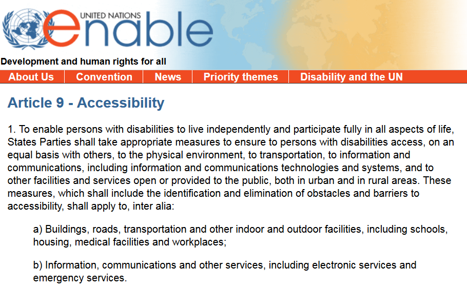 United Nations Human Rights - Article 9: Accessibility