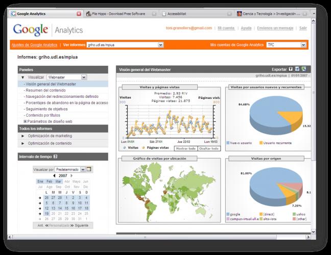 Logging de una versión anterior de esta web mediante Google Analytics