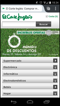 Menú website móvil El Corte Inglés