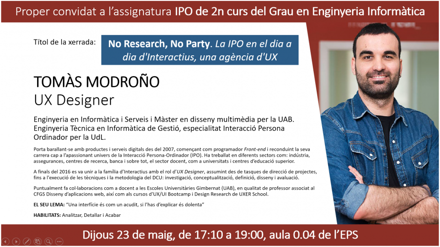"""No Research, No Party"", charla a cargo de Tomàs Modroño"